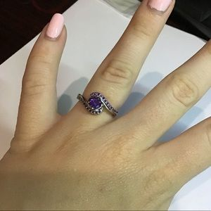 Silver ring with purple topaz new!